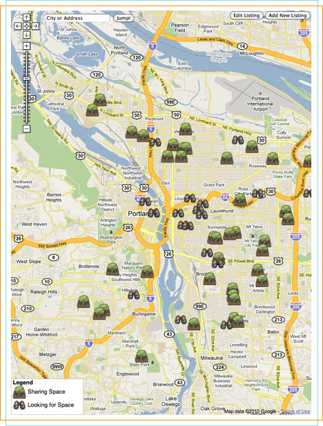 Portland Yardsharing.org's map matches gardeners with available lots.